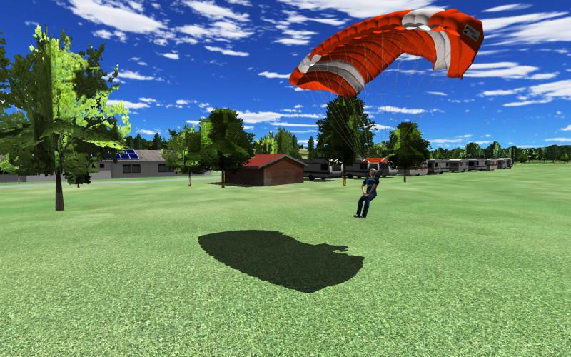 A ksydiver landing his parachute